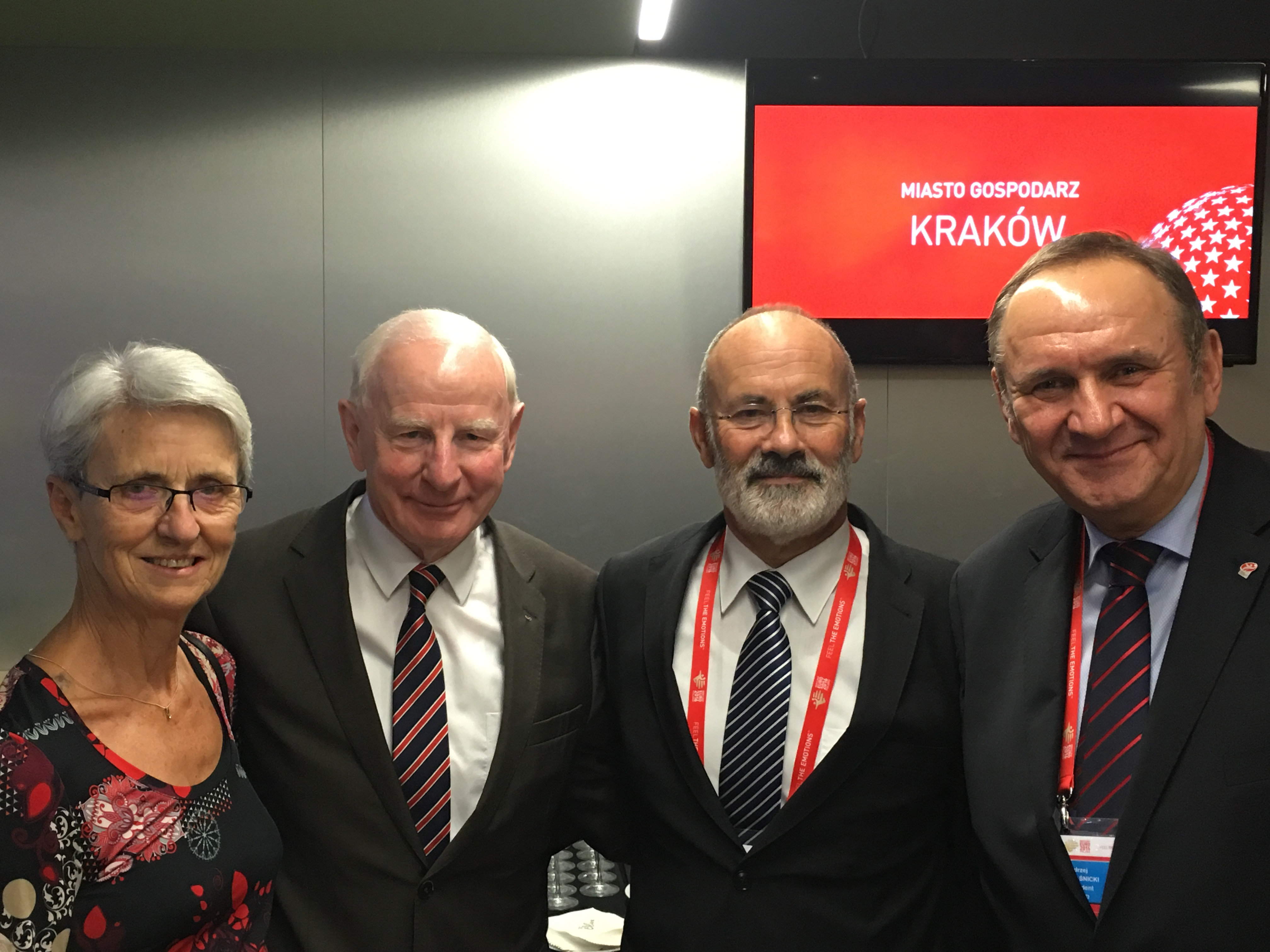 Pat Hickey with the President of NOC of Poland Andrzej Krasnicki and the President of European Handball Federation Jean Brihault  and his wife